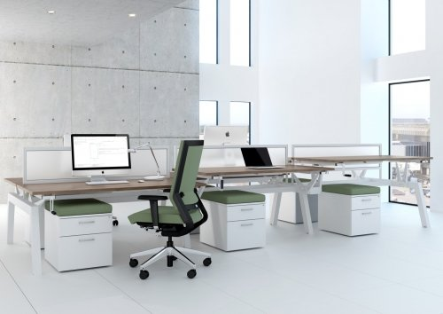 Elite Linnea Elevate Fixed Height Rectangular Desk with Shared Inset Leg 1200 x 800mm MFC Finish
