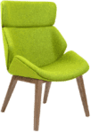Elite Cascara High Back Fully Upholstered Wooden Frame - Beech Leg