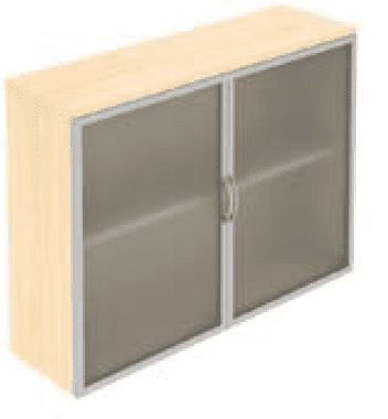 Elite Opaque Glass Fronted Top Storage Unit With Aluminium Framed Hinged Doors - 1200 x 350 x 875mm