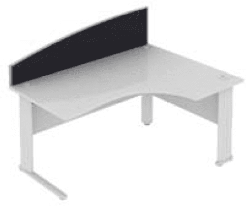Elite Desk Mounted Curved System Fabric Screen - Width 1373mm