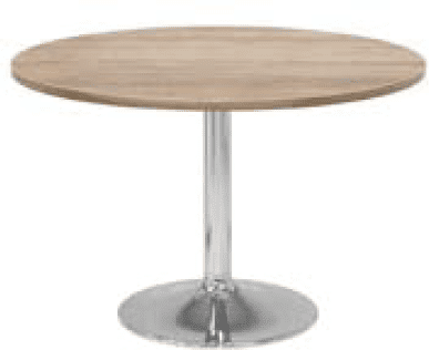 Elite Circular Chrome Trumpet Base Meeting Table MFC Finish - 1000 x 725mm