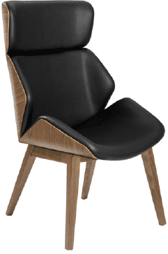 Elite Cascara High Back Moulded Shell Upholstered Wooden Frame - Wenge Leg