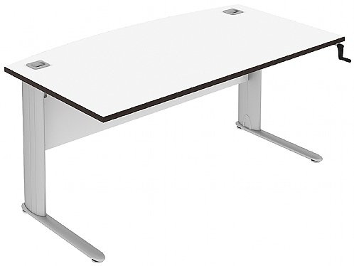 Elite Optima Plus Bow Fronted Rectangular Height Adjustable Desk - (w) 1600mm x (d) 900mm