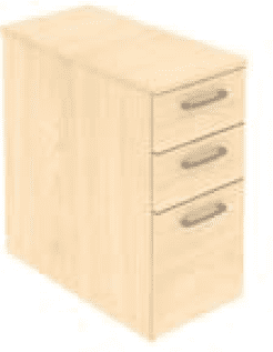 Elite 3 Drawer Narrow Mobile Pedestal - Standard Drawer (w) 298mm x (d) 600mm