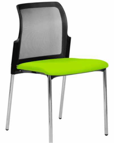 Elite Leola Mesh Back 4 Legged Chair With Upholstered Seat & Without Arms