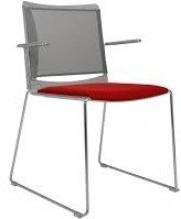 Vice Versa Mesh Back Chair with Polypropylene Shell & Upholstered Seat & Arms