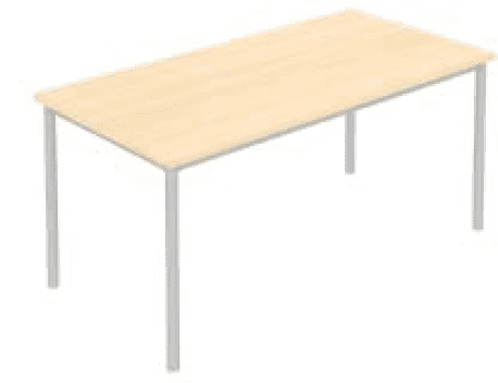 Elite Rectangular Training Table with Circular Legs MFC Finish - 1400 x 600 x 740