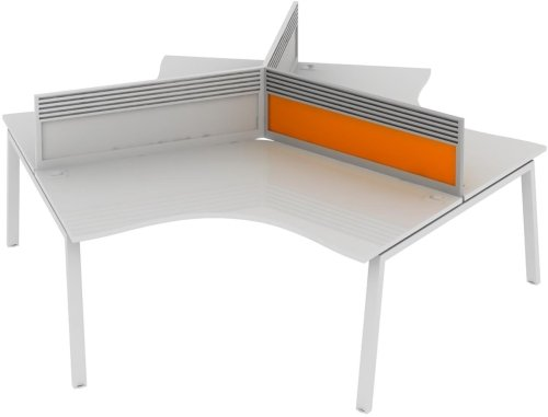 Elite Linnea System Screen 120 Degree with Management Rail - Acrylic 979 x 27 x 375mm