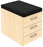 Elite 3 Drawer Low Mobile Pedestal with Seat Pad 418 x 600 x 609mm