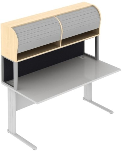 Elite Desk Top Tambour Storage Unit with Screen - 1600 x 380 x 850mm