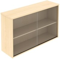 Elite Glass Fronted Top Storage Unit with Sliding Doors MFC Finish
