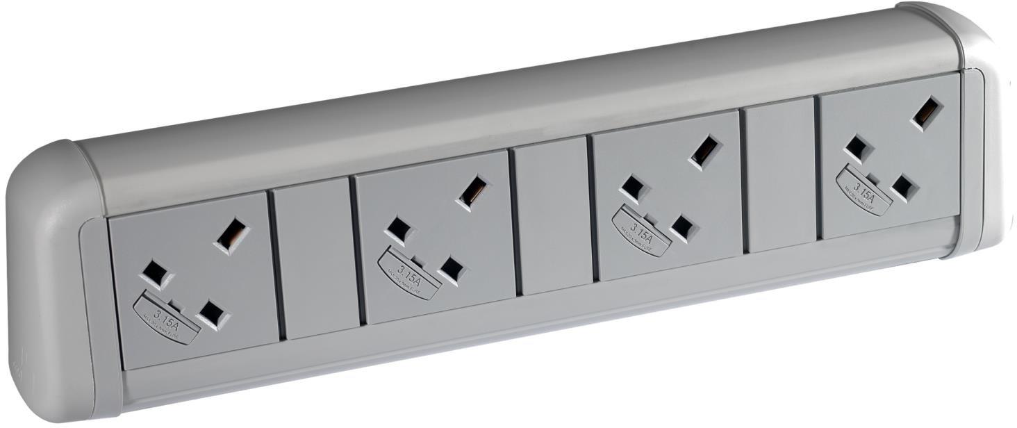 Elite Flex 4 Gang Desk Top Power Module Black